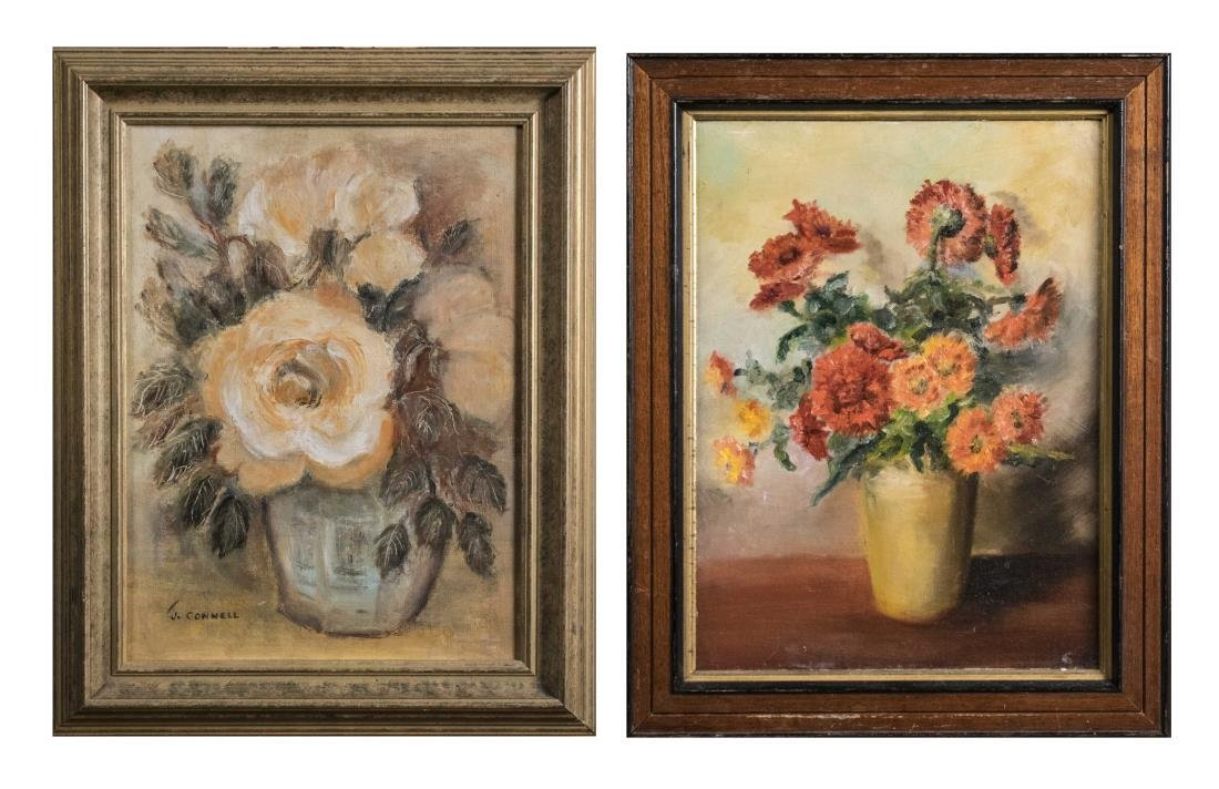 Two Floral Still Life Paintings (20th Century)