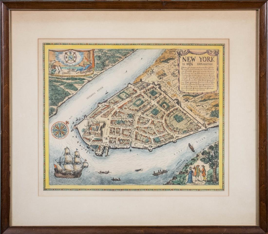 Reproduction Print of Map of New York in 1674