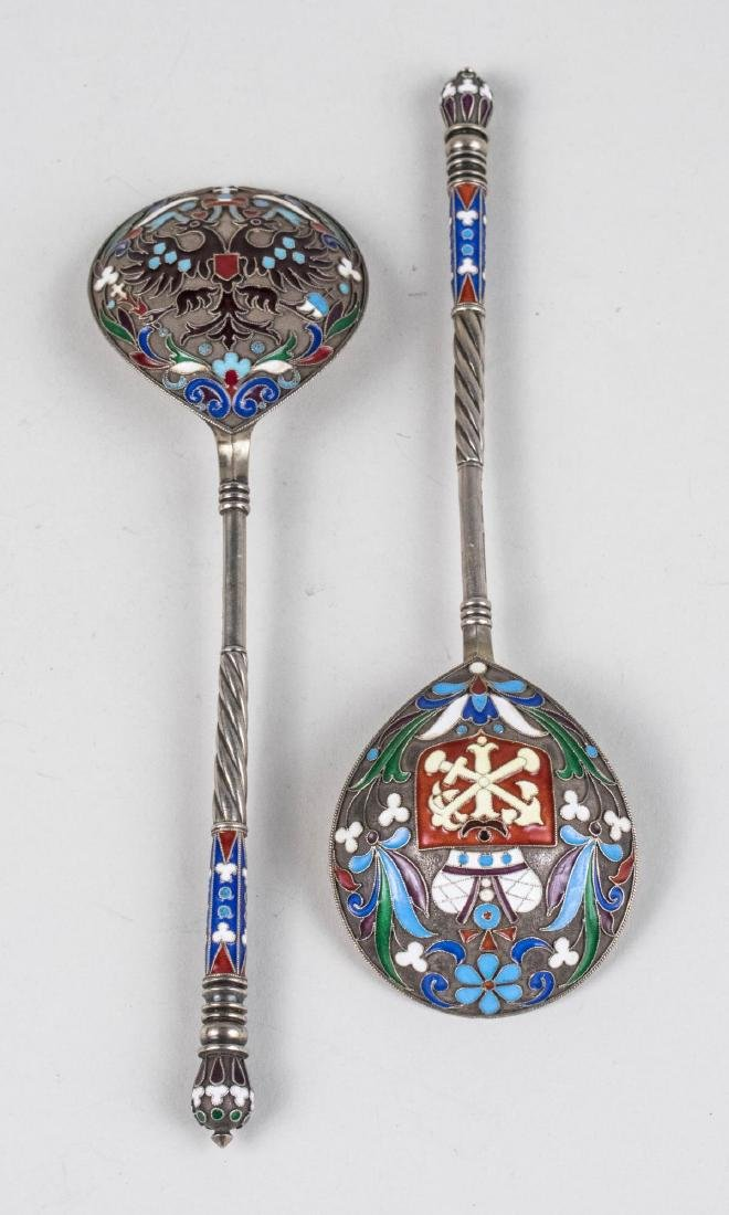 Pair of Russian Silver and Enamel Spoons   *