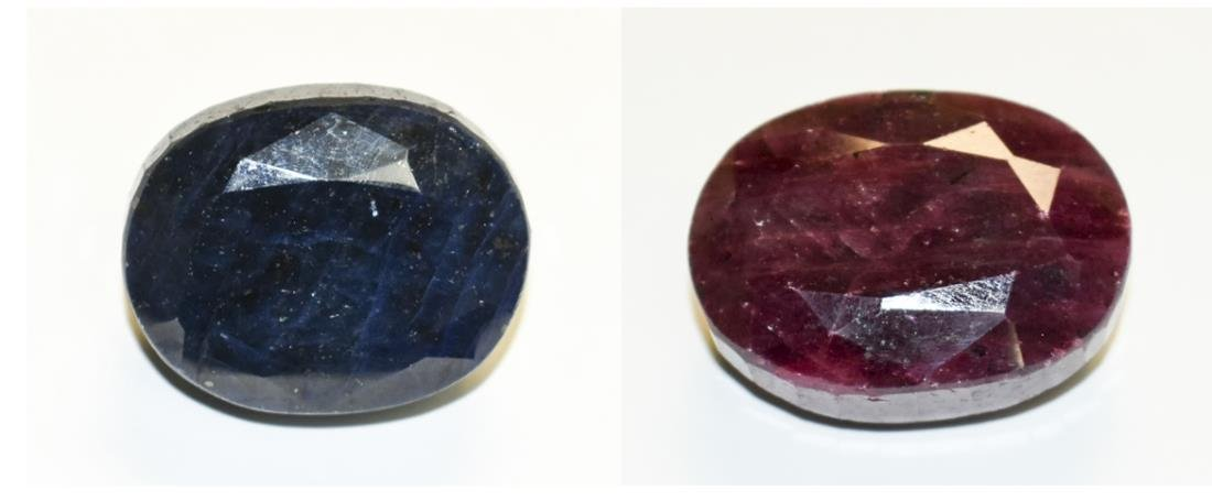 Red Mineral and Blue Mineral Specimens   *