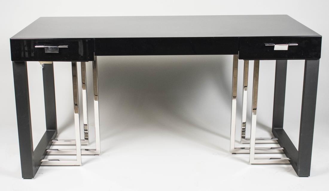 Modern Black Lacquer Desk
