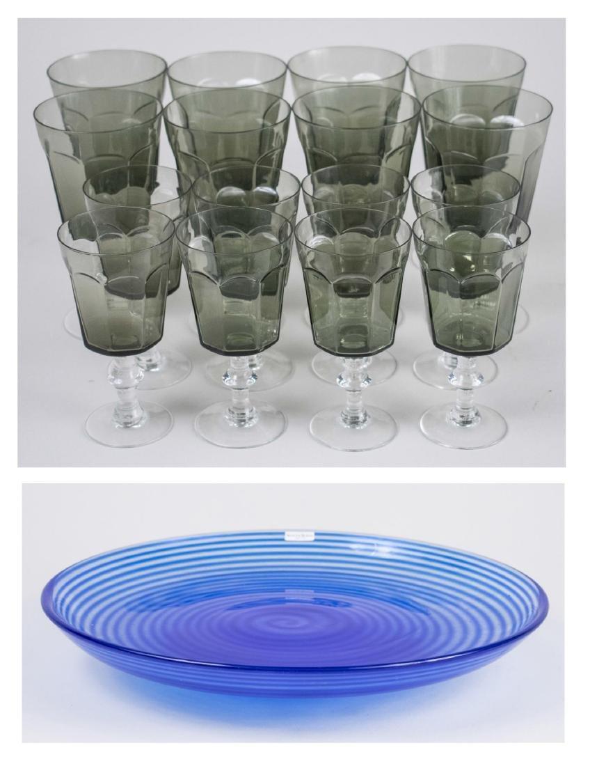 Kosta Boda Glass Tray & Group Smoke Glass Stemware