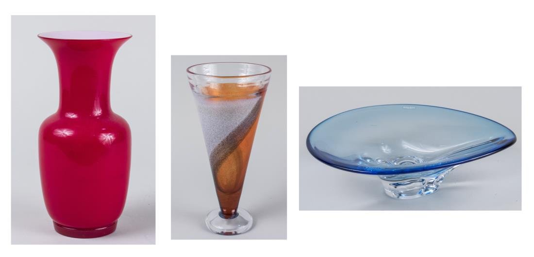 Two  Art Glass Vases and Art Glass Bowl