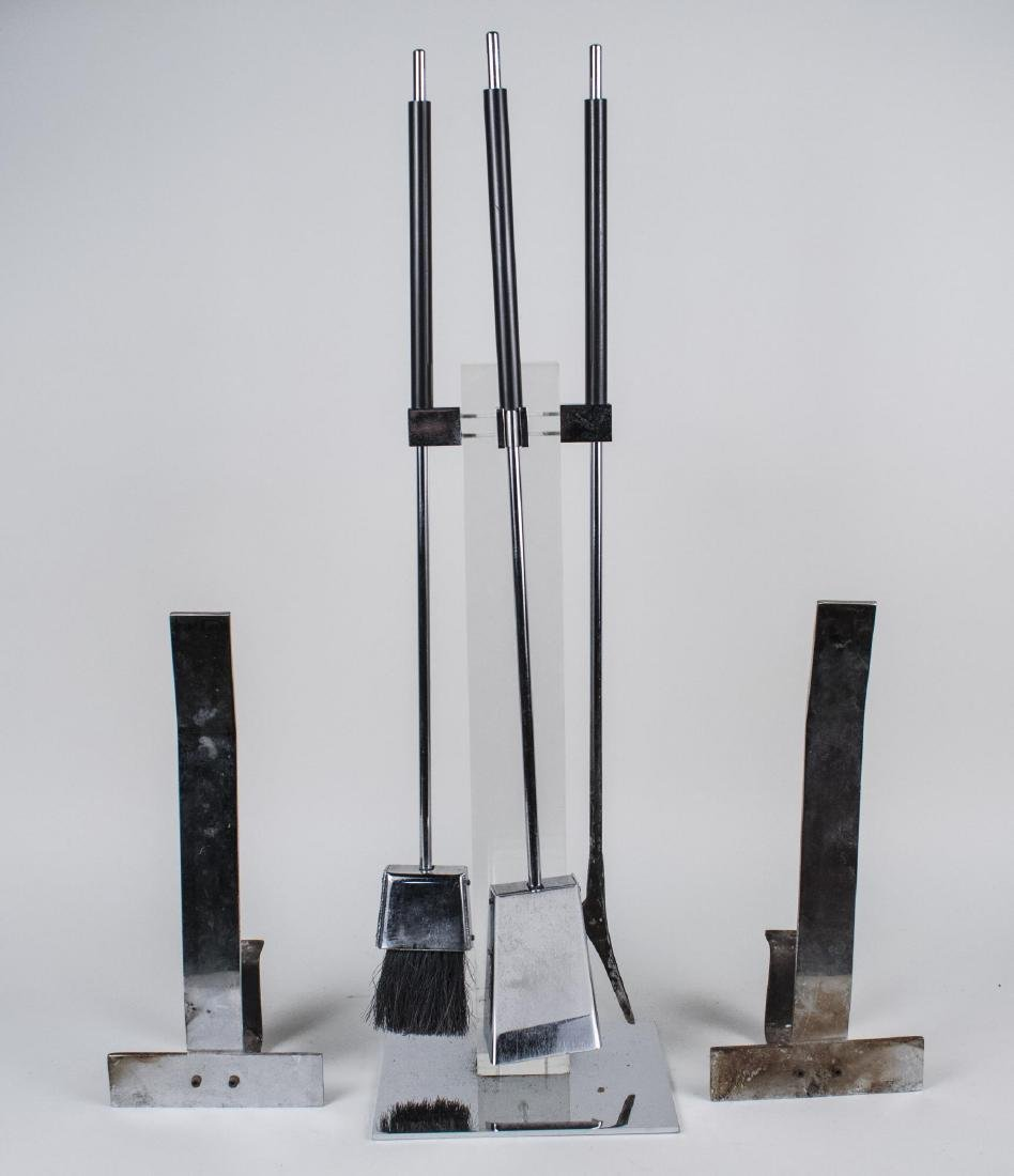 Chrome Andirons and Fire Place Tools
