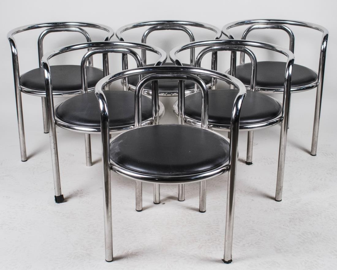 Set of Six Modern Chrome Chairs