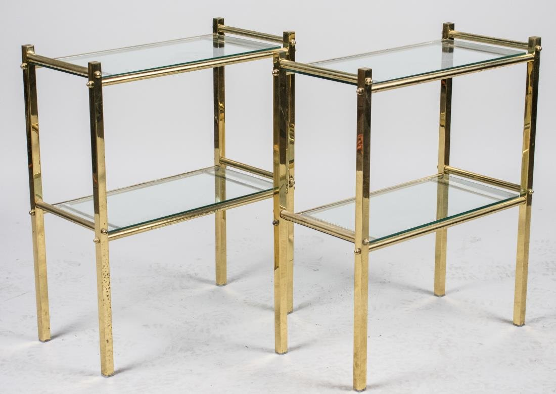 Pair of Brass and Glass Two Tier Side Tables