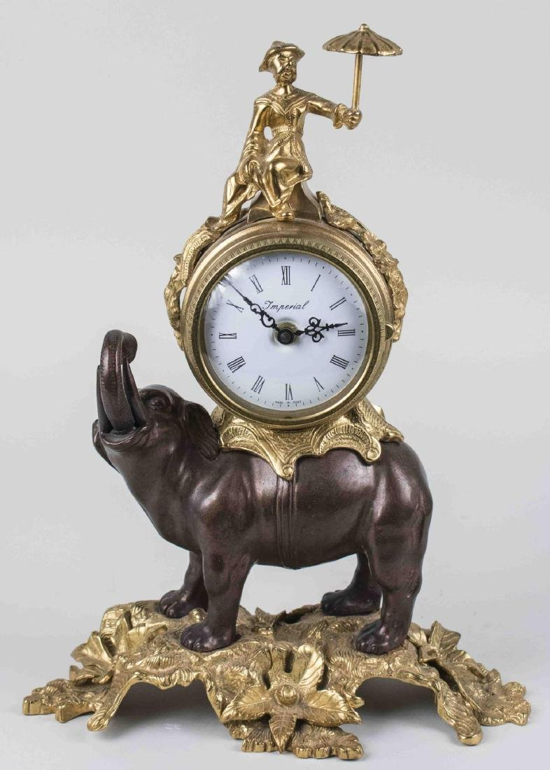 Gilt and Painted Metal Elephant Clock