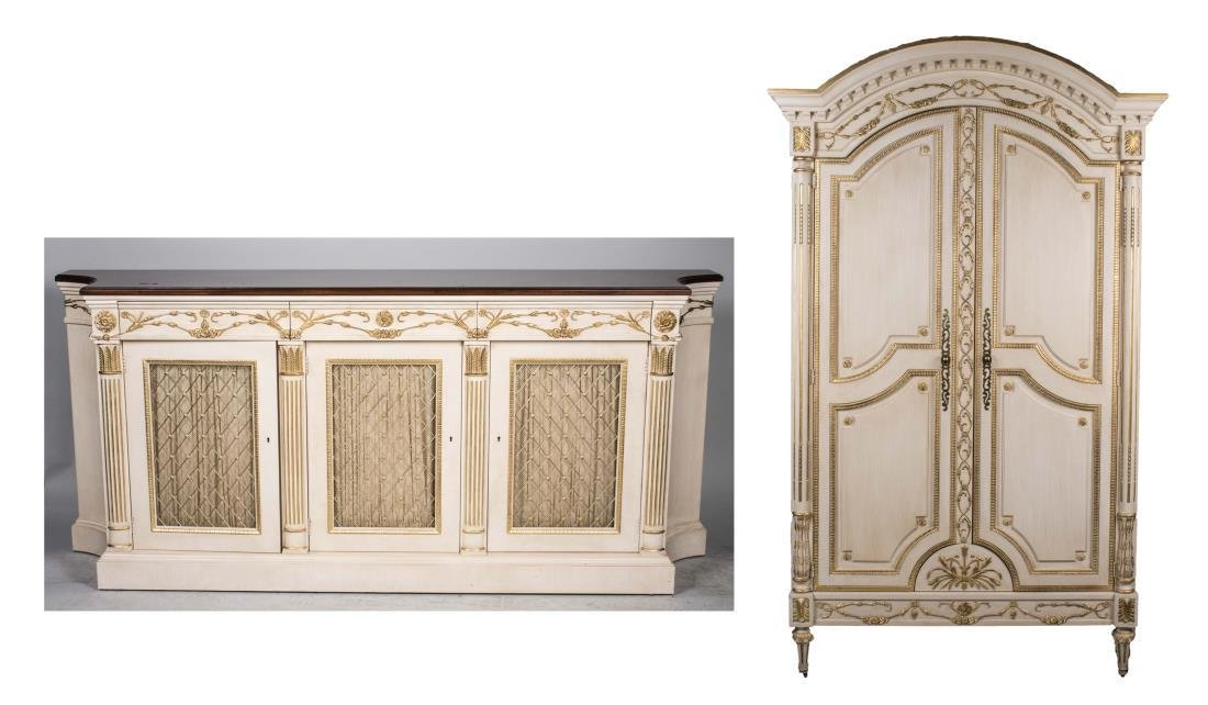E.J. Victor Dresser and Armoire Set
