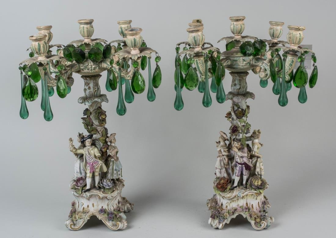 Pair of Painted Metal and Porcelain Candelabra