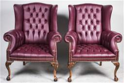 Pair of Button Tufted Leather Wing Chairs