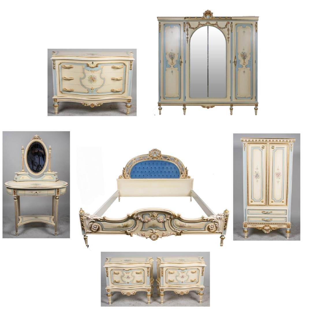 E. J. Victor Cream Painted Bedroom Set