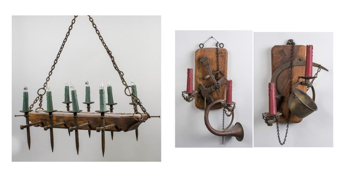 Pair of Wood and Iron Sconces & Fixture