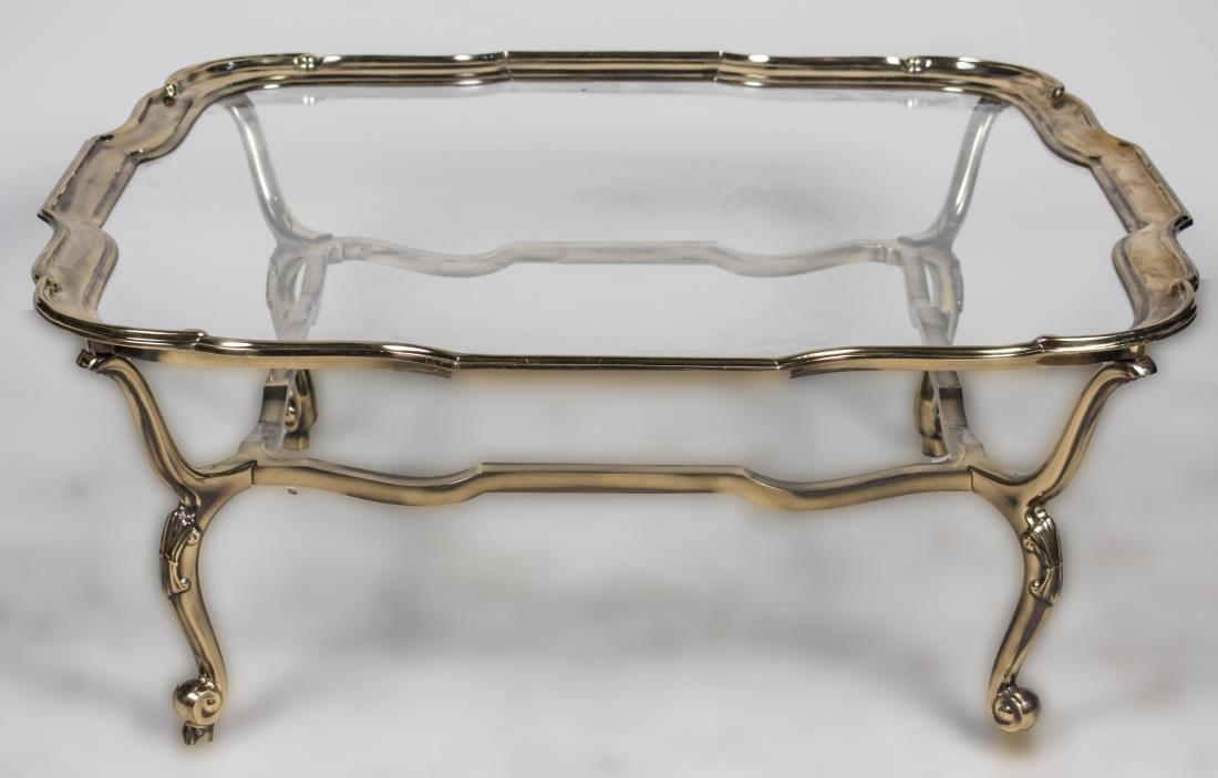 Lefarge Glass Top Brass Coffee Table