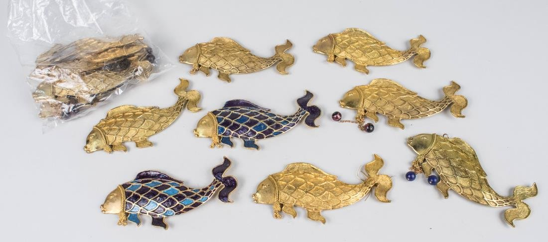 Group of Chinese Gilt Metal and Enamel Fish