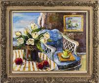 American School 20th C  Still Life with Roses