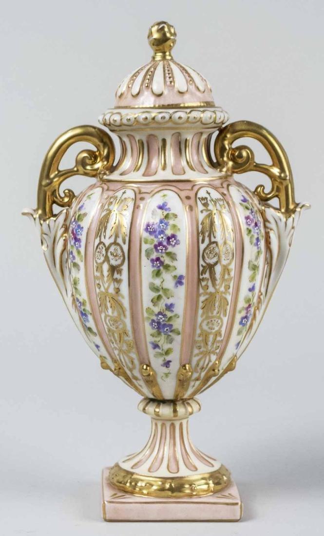 German Rudolstadt Porcelain Covered Urn