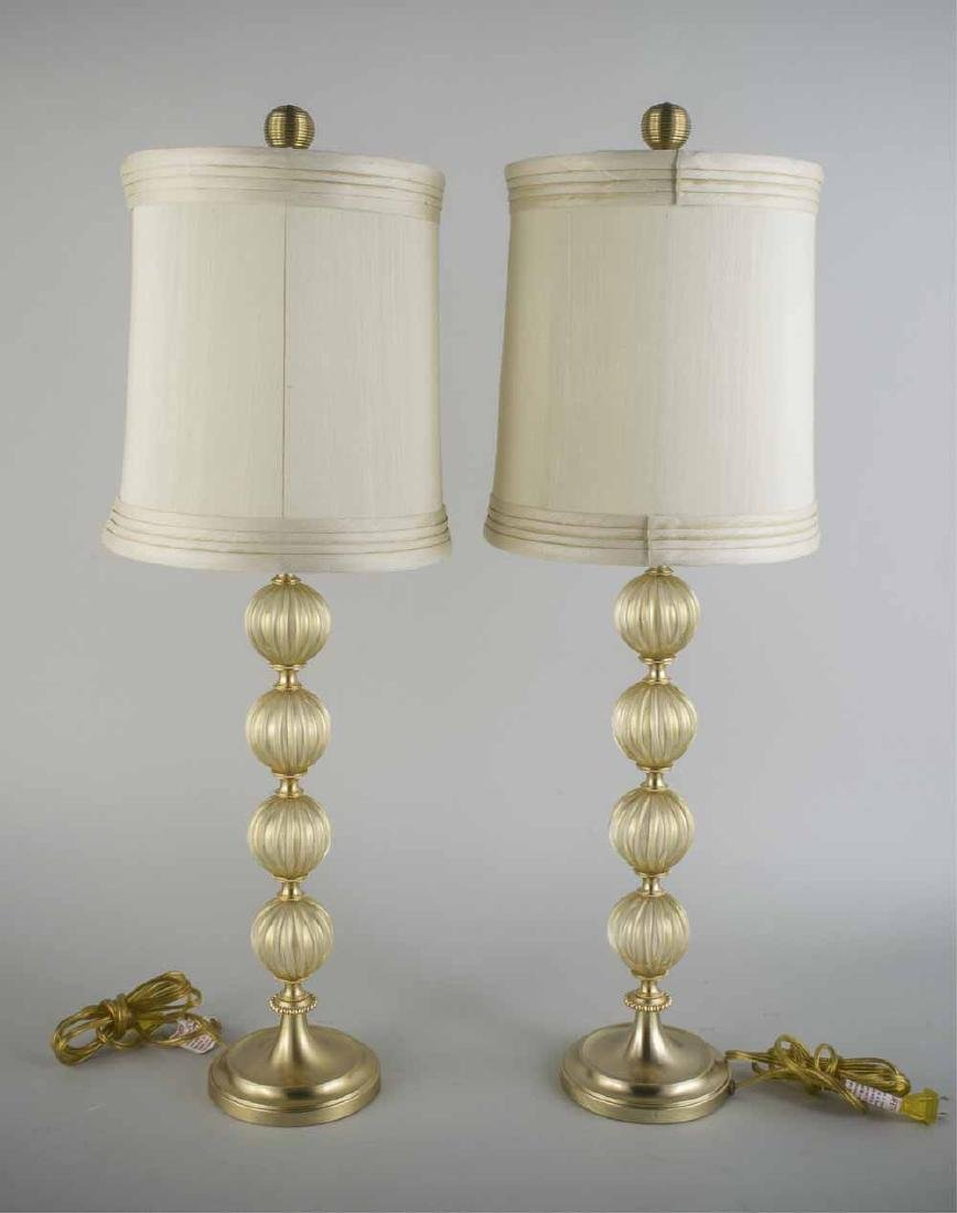 Pair of Italian Glass Table Lamps