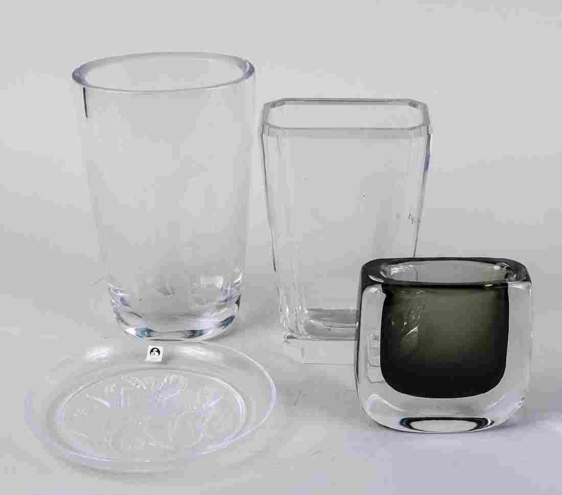 Three Glass Vases and Glass Plate