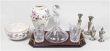 Group of Glass and Sterling Silver Table Articles