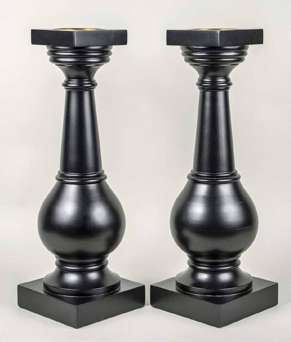 Pair of Black Painted Candle Holders