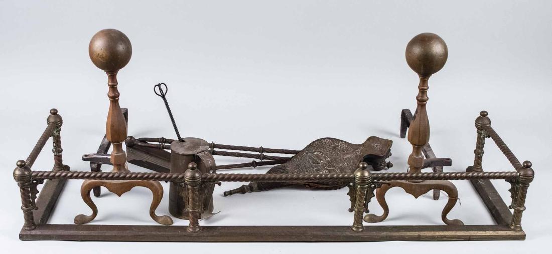 Brass Fireplace Fender, Andirons & Tools