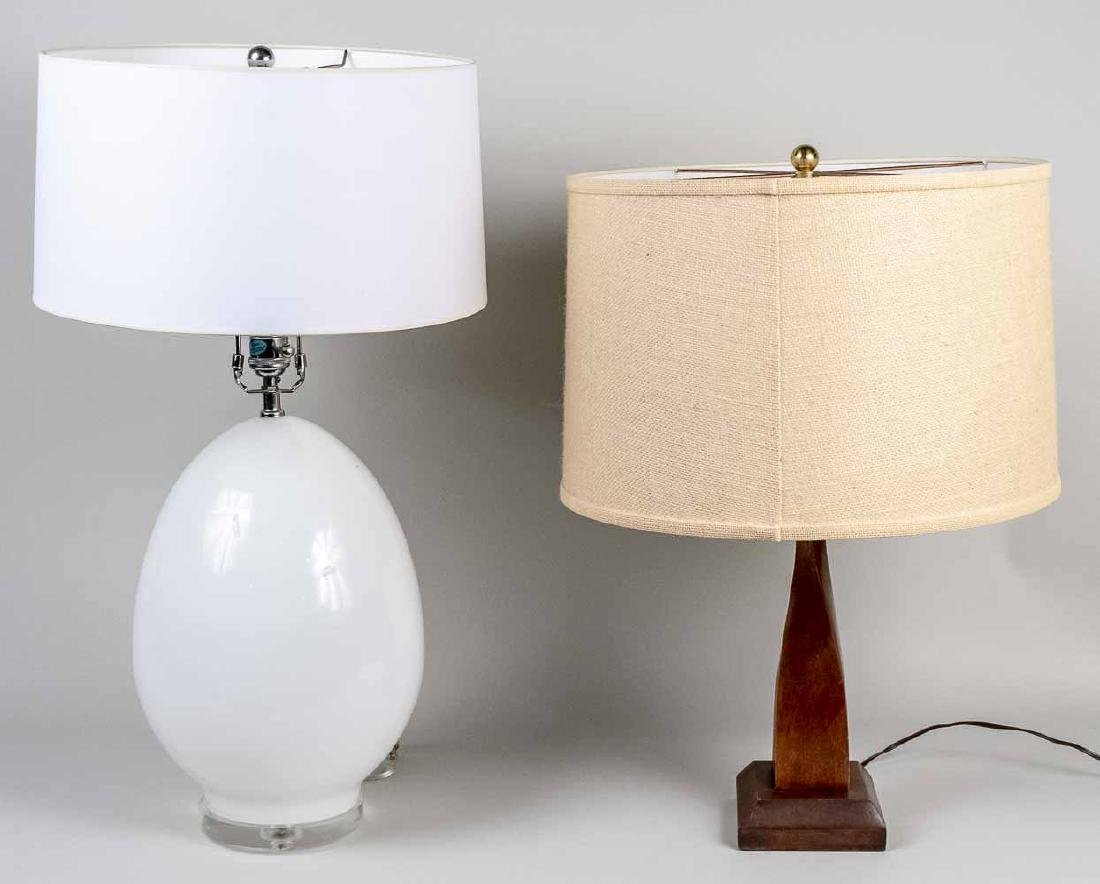 PAIR OF COLUMNAL GREEN GLASS TABLE LAMPS