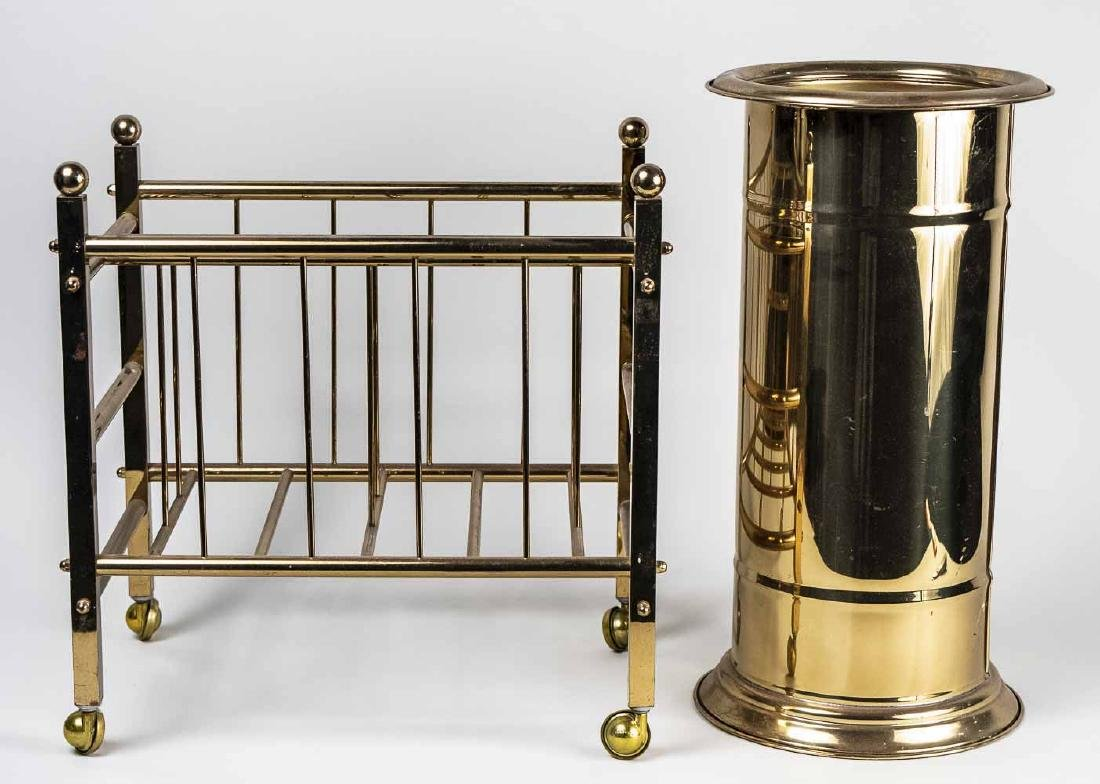 Brass Magazine Rack & Umbrella Stand