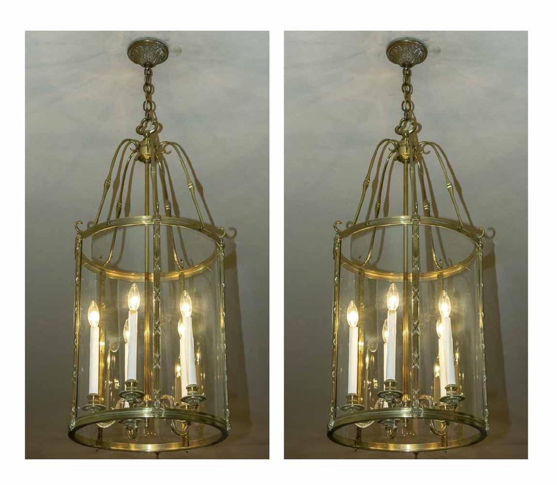 Pair of Brass and Glass Lantern Fixtures