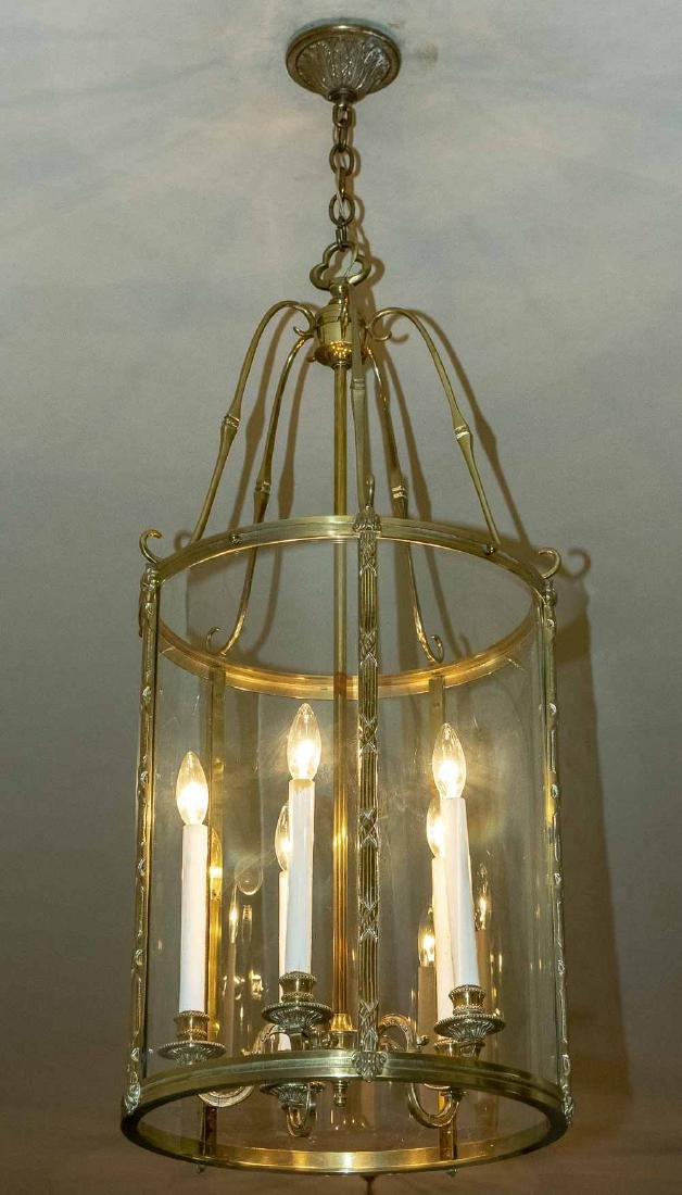 Pair of Brass and Glass Lantern Fixtures - 2