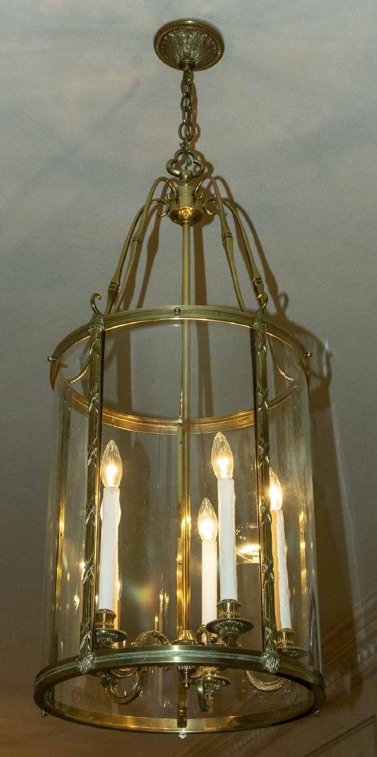 Pair of Brass and Glass Lantern Fixtures - 4