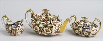 Royal Crown Derby Three Piece Porcelain Tea Set