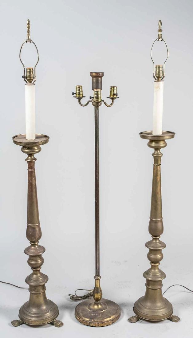Pair of Brass Candlestick Floor Lamps
