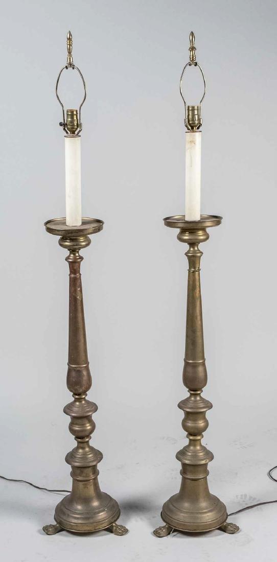 Pair of Brass Candlestick Floor Lamps - 2