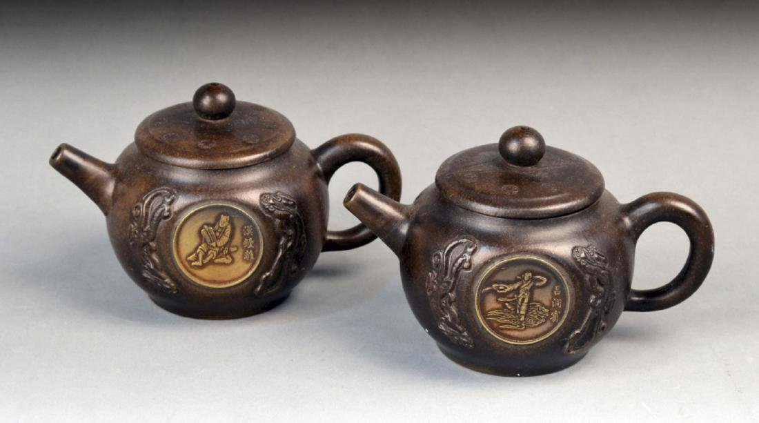 Pair of Chinese Porcelain Teapots