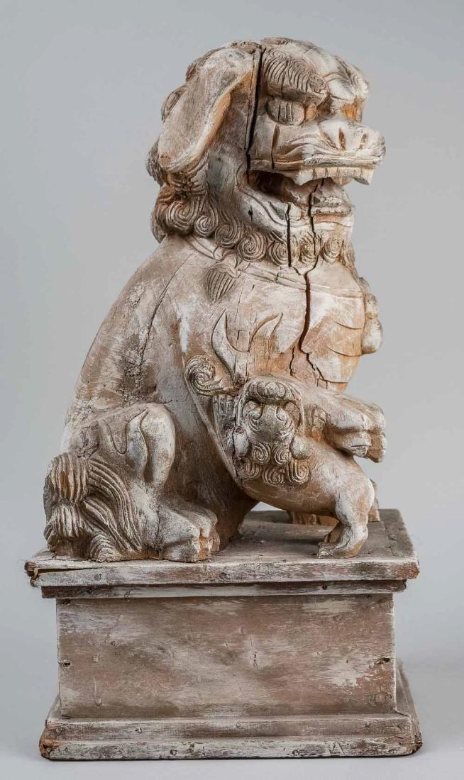 Carved Wood Foo Lion