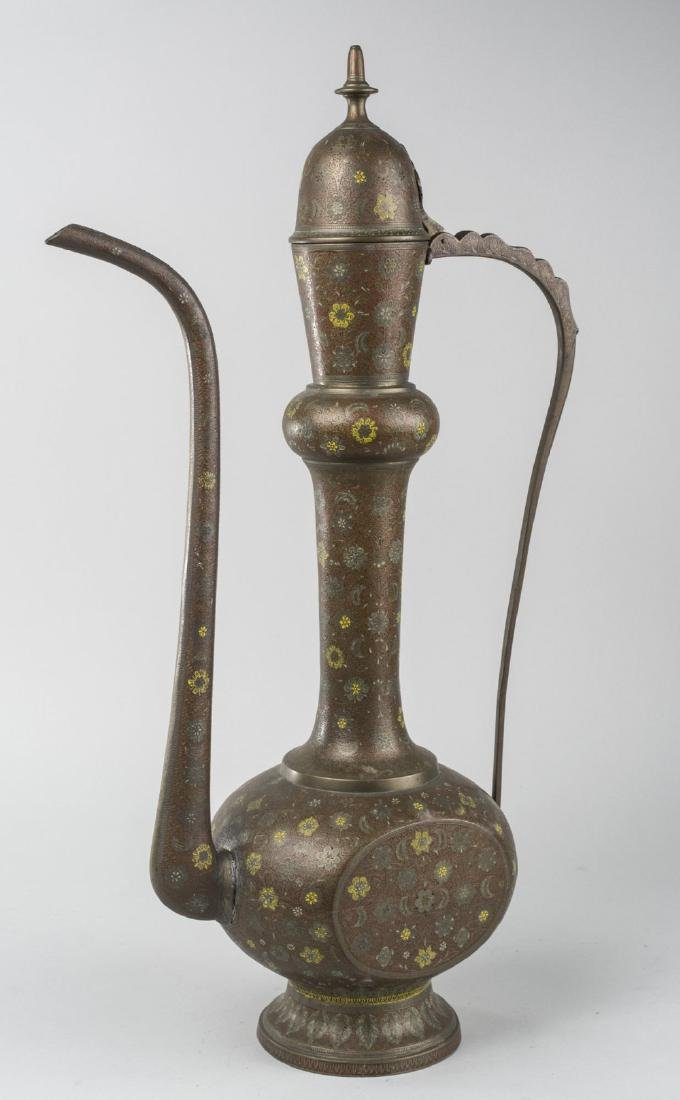 Indian Enameled Brass Coffee Pot