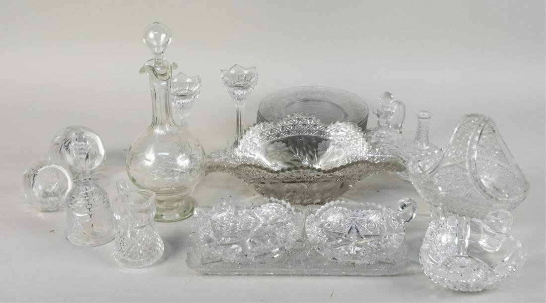 Misc Group of Clear Cut Glass Table Articles