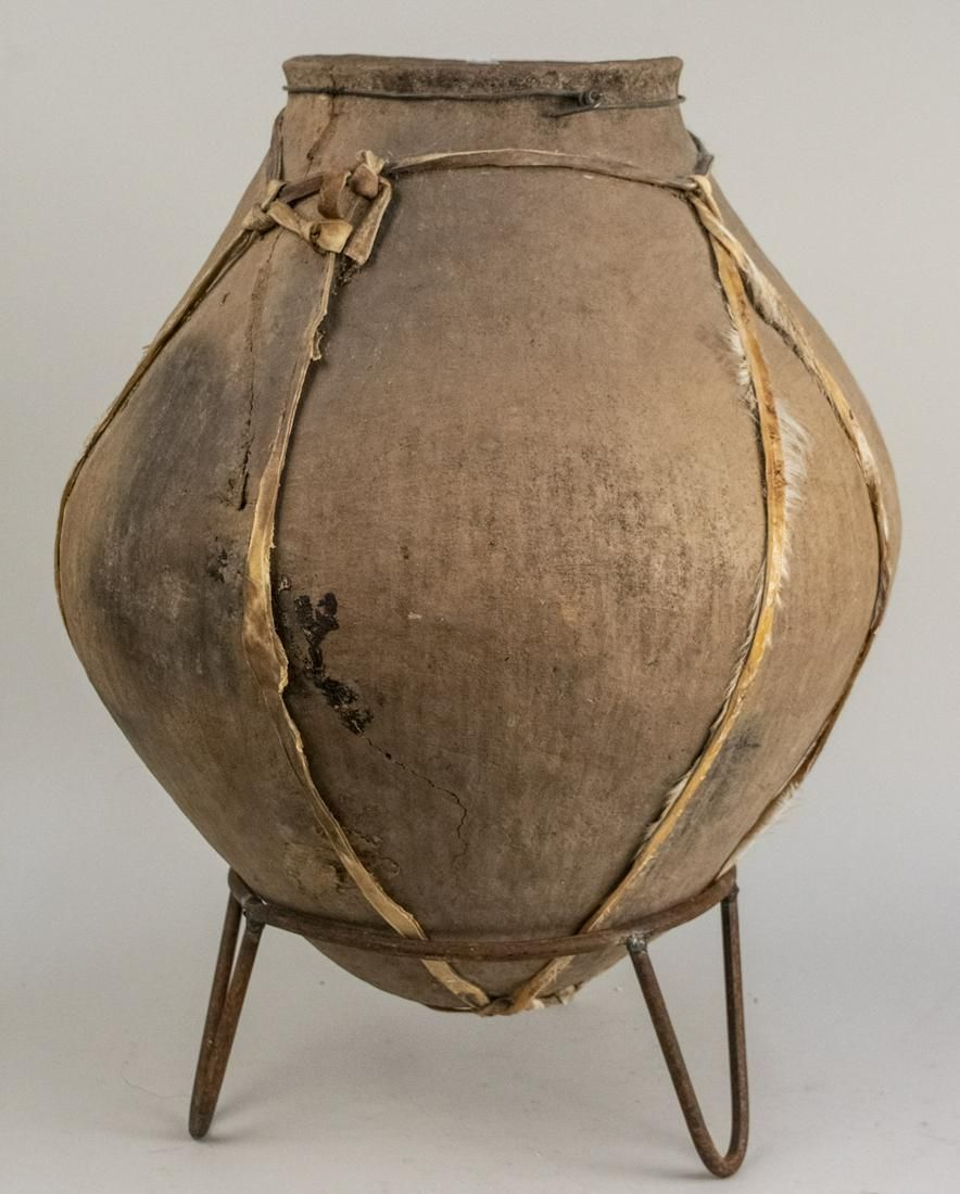 Pottery Vessel on Iron Stand