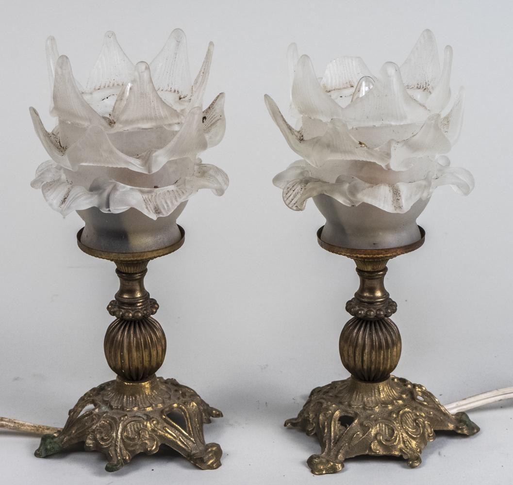 Pair of Floriform Boudoir Lamps