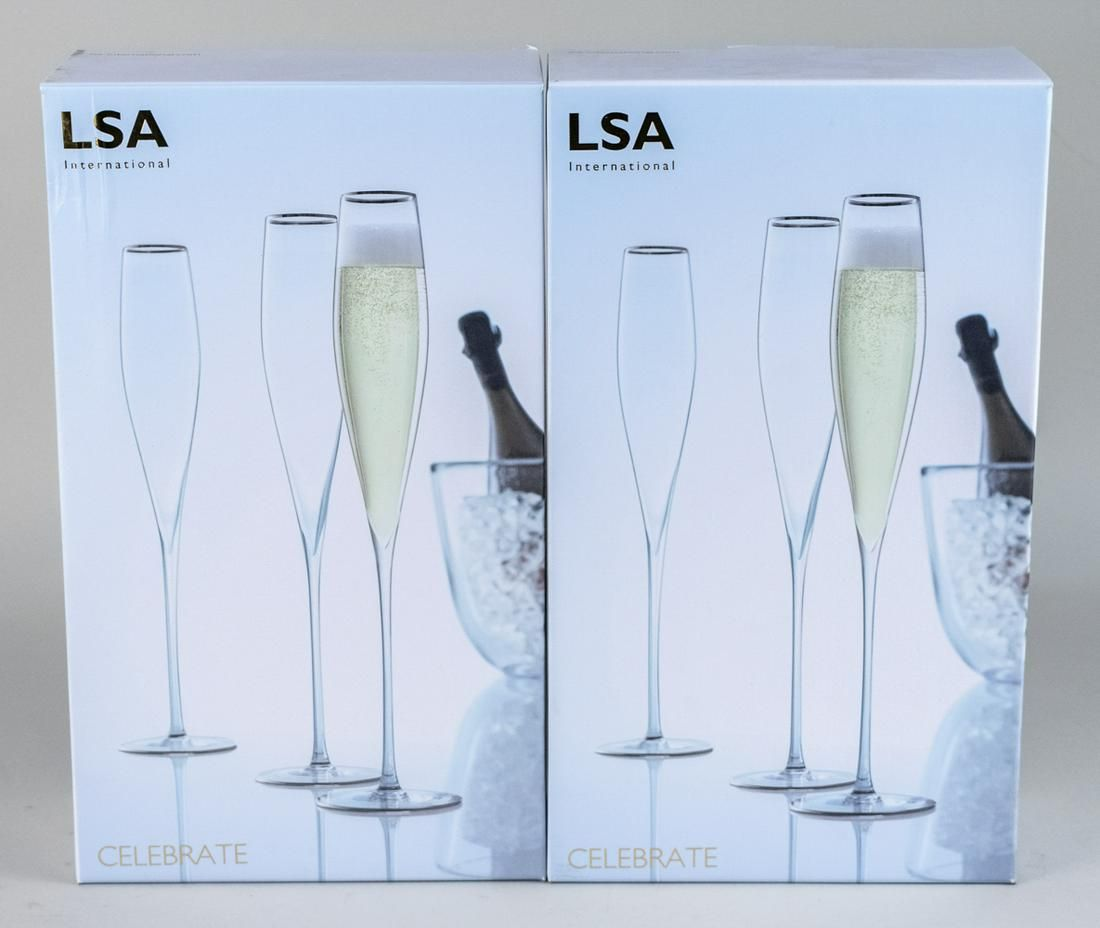 Four LSA International Celebrate Champagne Flutes