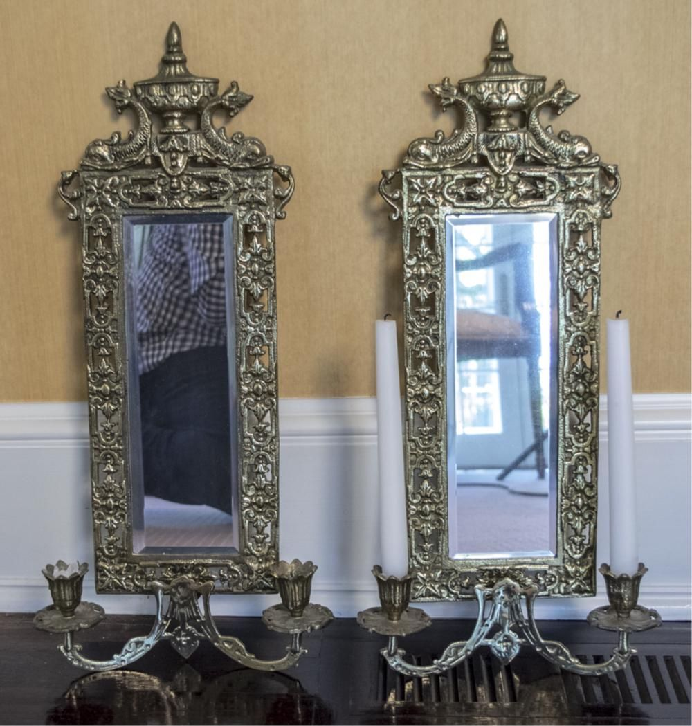Pair of Brass Two Light Sconces
