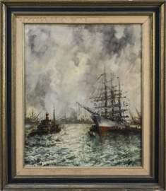 H. Mohr (Dutch)  Harbor Scene   *