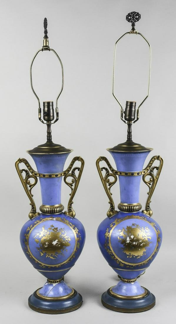 Pair of Sevres Style Porcelain Lamps