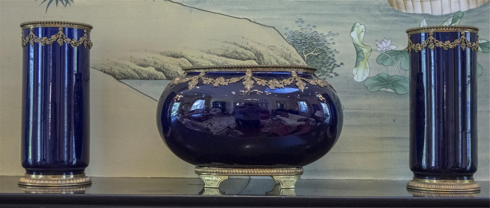 French Empire Bronze Mounted Porcelain Garniture