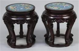 Pair of Chinese Hardwood and Cloisonne Tabourets