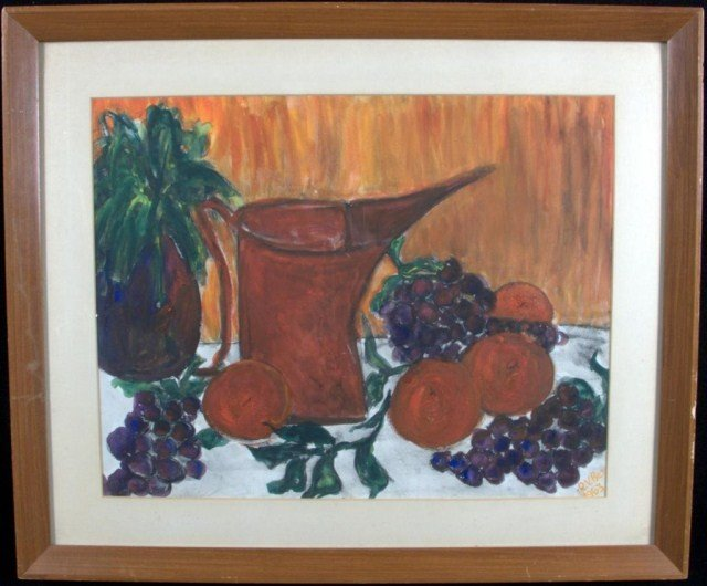 3: American School Still Life Red Pitcher and Fruit sig