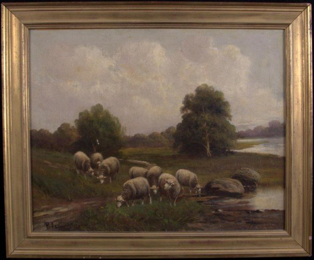 4: English School Sheep in a Field Oil on canvas. 16 x