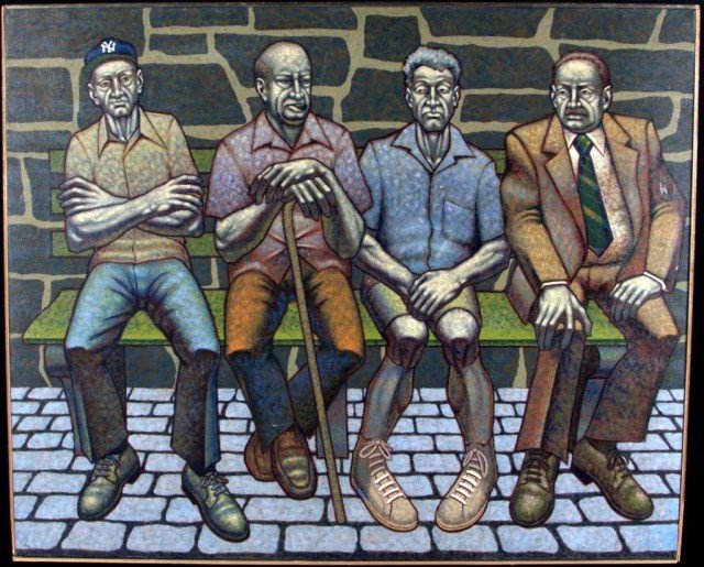 5: American School Four Seated Men Oil on canvas, signe