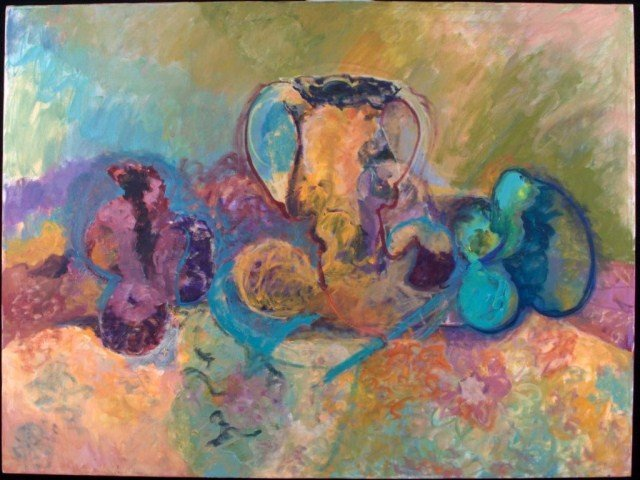12: Abstract Still Life Orange, purple and green, oil o