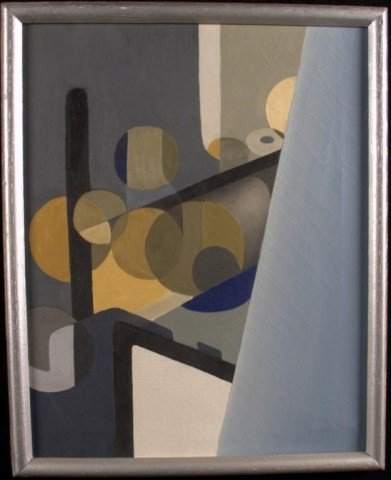 15: Black Blue Grey and Gold Geometric Study Oil on can